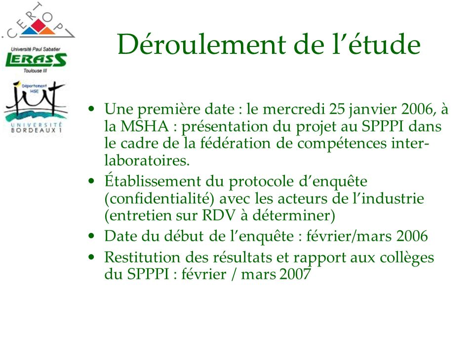Déroulement de létude Une première date : le mercredi 25 janvier 2006, à la MSHA : présentation du projet au SPPPI dans le cadre de la fédération de c