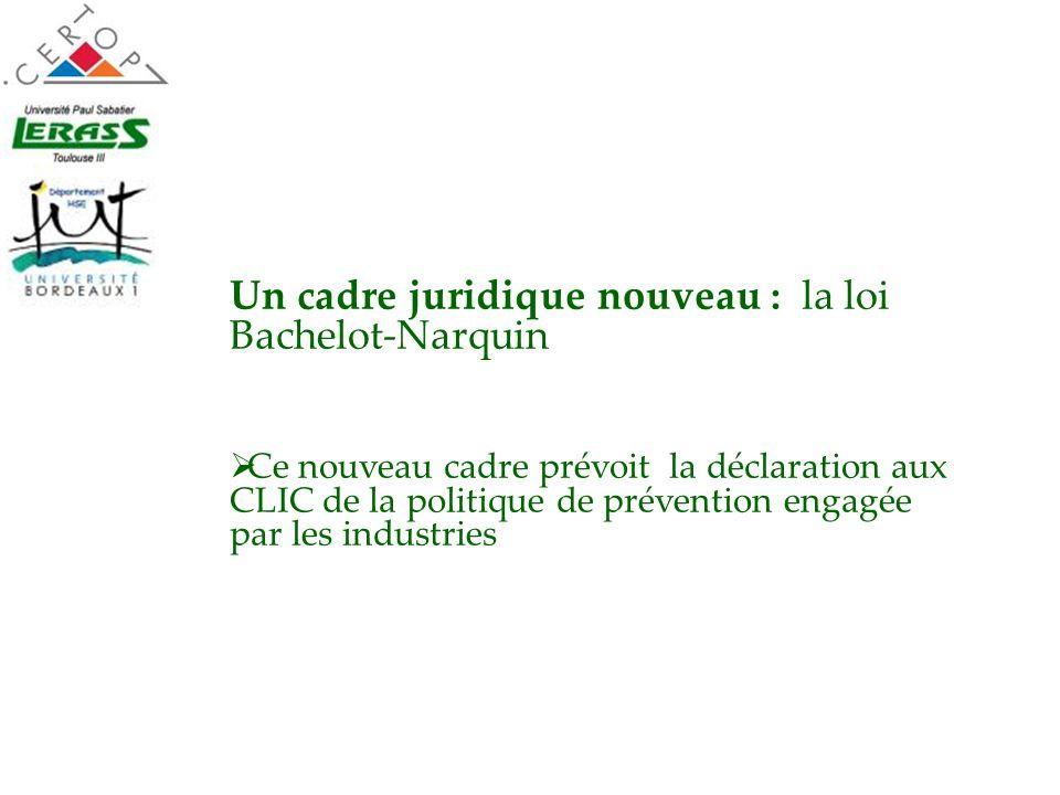 Un cadre juridique nouveau : la loi Bachelot-Narquin Ce nouveau cadre prévoit la déclaration aux CLIC de la politique de prévention engagée par les in