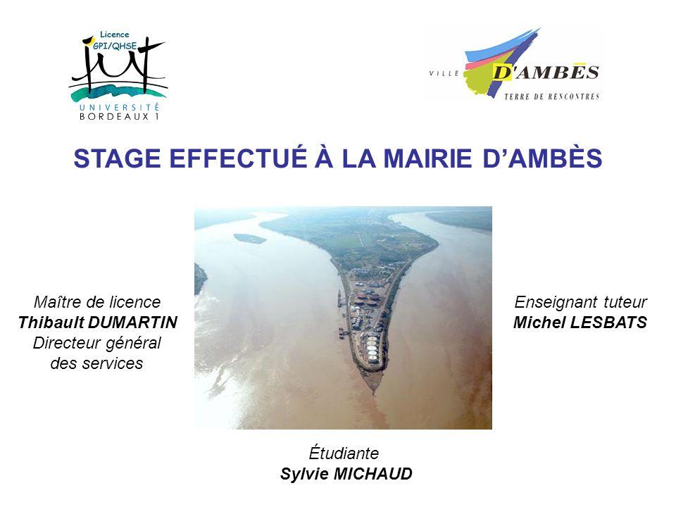 PRÉSENTATION DE LA COMMUNE DAMBÈS 2856 habitants (recensement 1999) environ 2885 hectares sur une presquîle aux accès limités en zone inondable Côté Dordogne : Une commune dynamique Des marais Côté Garonne : Un pôle industriel lourd de la Gironde (pétrochimie, etc.)