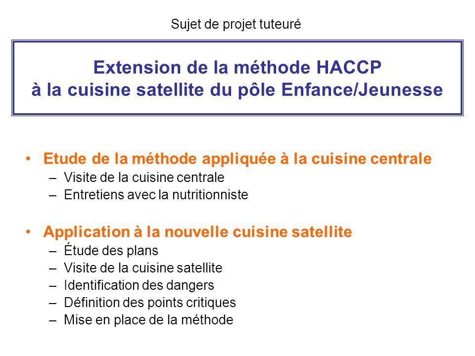Extension de la méthode HACCP à la cuisine satellite du pôle Enfance/Jeunesse Etude de la méthode appliquée à la cuisine centrale –Visite de la cuisin