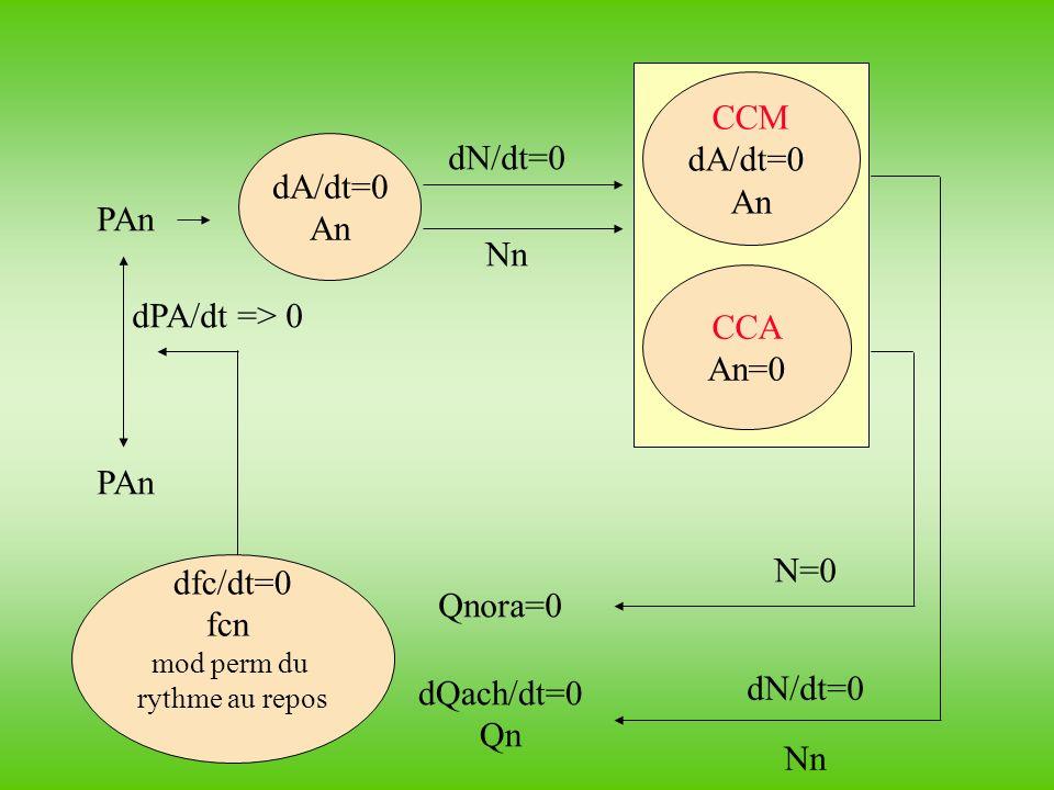 dfc/dt=0 fcn mod perm du rythme au repos dA/dt=0 An CCM dA/dt=0 An CCA An=0 dPA/dt => 0 PAn dN/dt=0 Nn dN/dt=0 Nn N=0 Qnora=0 dQach/dt=0 Qn PAn