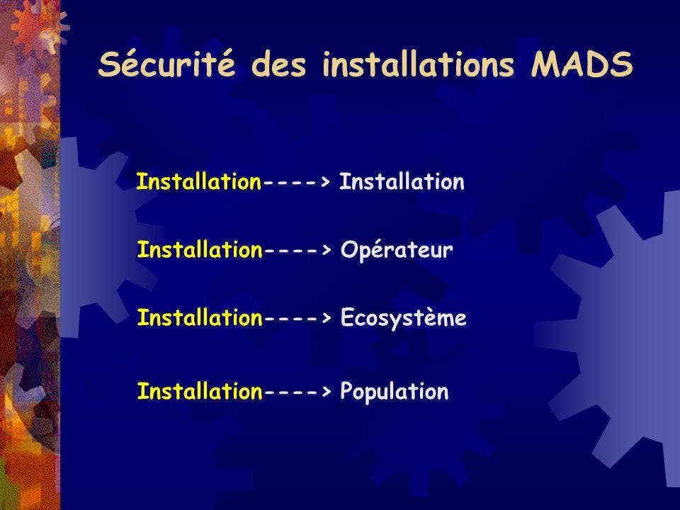 Sécurité des installations MADS Installation----> Installation Installation----> Opérateur Installation----> Ecosystème Installation----> Population