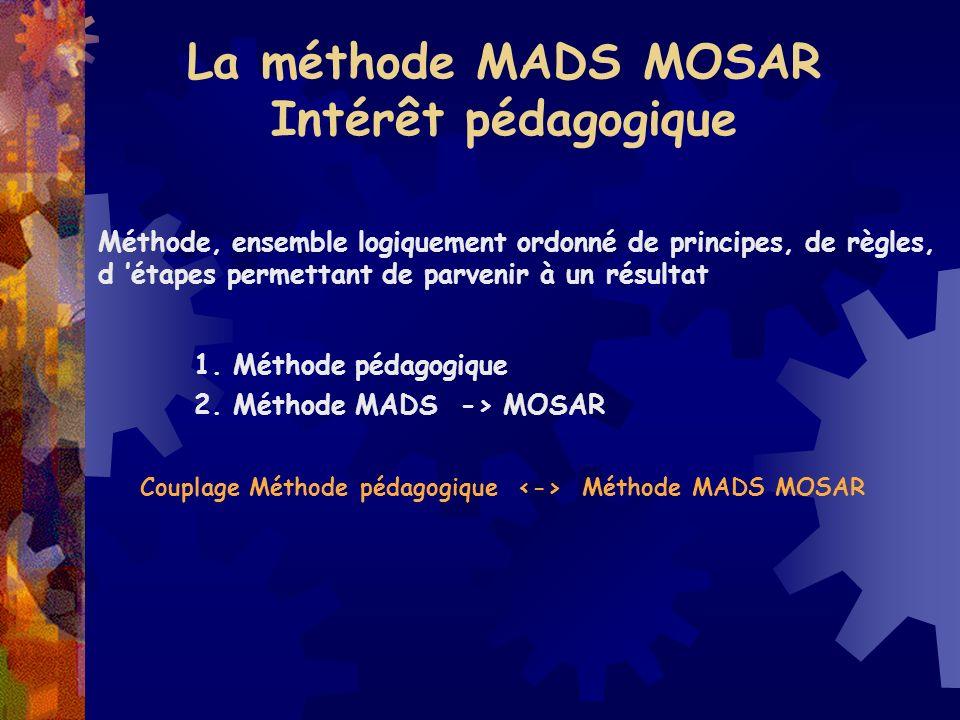 La méthode MADS MOSAR Intérêt pédagogique Méthode, ensemble logiquement ordonné de principes, de règles, d étapes permettant de parvenir à un résultat