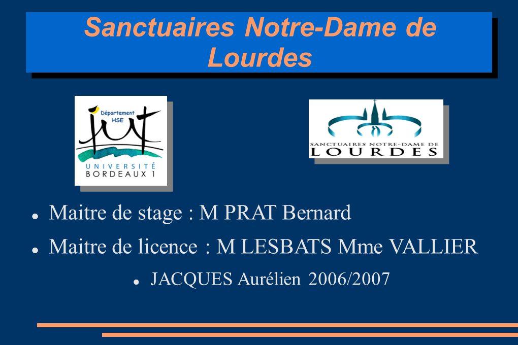 Sanctuaires Notre-Dame de Lourdes Maitre de stage : M PRAT Bernard Maitre de licence : M LESBATS Mme VALLIER JACQUES Aurélien 2006/2007