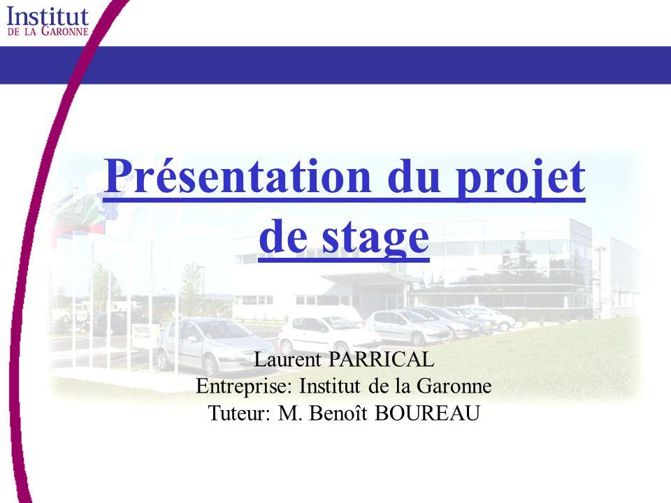 Présentation du projet de stage Laurent PARRICAL Entreprise: Institut de la Garonne Tuteur: M. Benoît BOUREAU