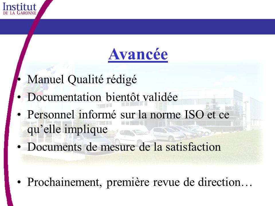 Avancée Manuel Qualité rédigé Documentation bientôt validée Personnel informé sur la norme ISO et ce quelle implique Documents de mesure de la satisfa