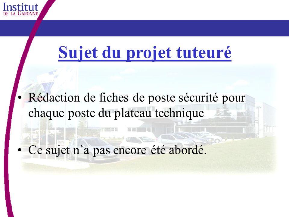 Sujet du projet tuteuré Rédaction de fiches de poste sécurité pour chaque poste du plateau technique Ce sujet na pas encore été abordé.