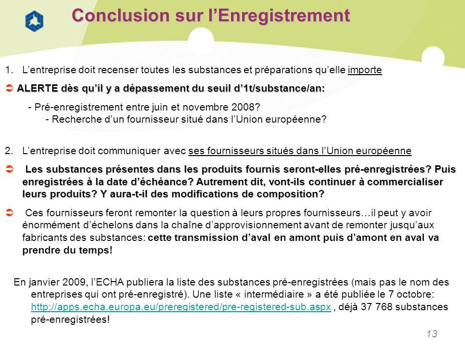 13 Conclusion sur lEnregistrement 1.Lentreprise doit recenser toutes les substances et préparations quelle importe ALERTE dès quil y a dépassement du