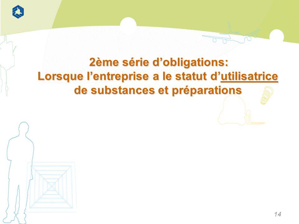 14 2ème série dobligations: 2ème série dobligations: Lorsque lentreprise a le statut dutilisatrice de substances et préparations