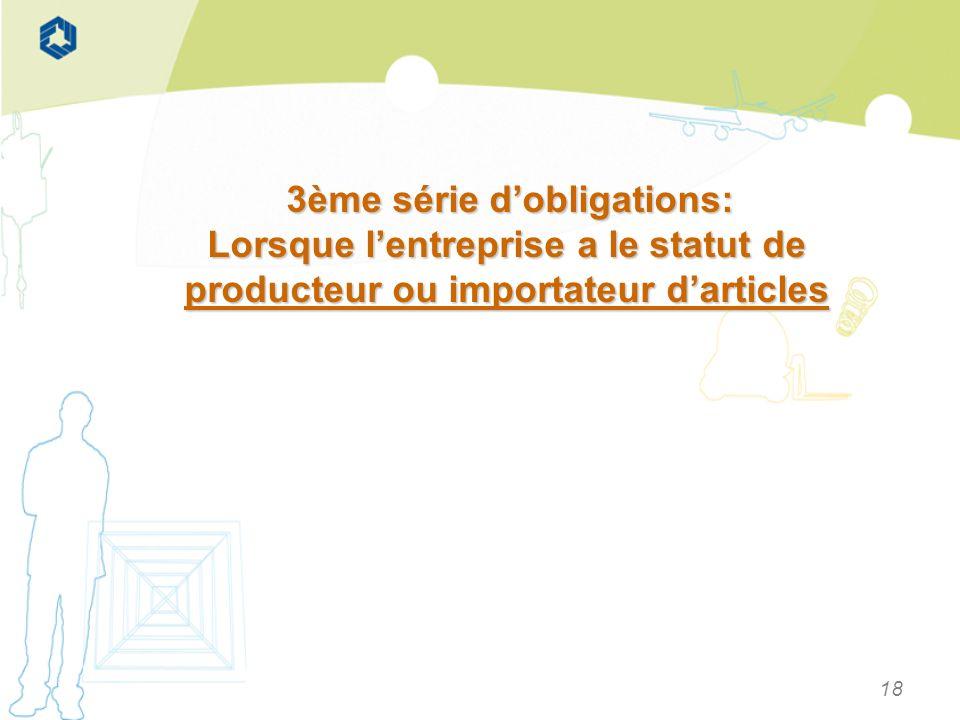 18 3ème série dobligations: 3ème série dobligations: Lorsque lentreprise a le statut de producteur ou importateur darticles