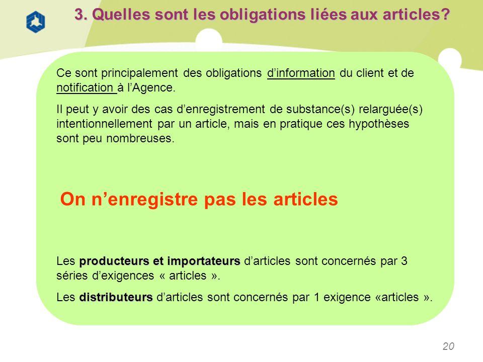 20 3. Quelles sont les obligations liées aux articles? Ce sont principalement des obligations dinformation du client et de notification à lAgence. Il
