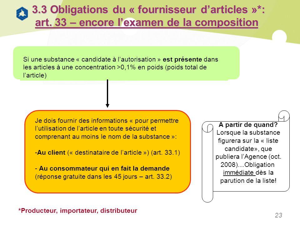 23 3.3 Obligations du « fournisseur darticles »*: art. 33 – encore lexamen de la composition Si une substance « candidate à lautorisation » est présen