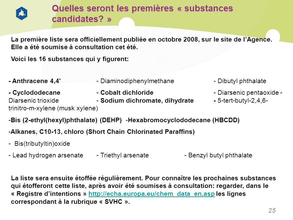 25 Quelles seront les premières « substances candidates? » La première liste sera officiellement publiée en octobre 2008, sur le site de lAgence. Elle