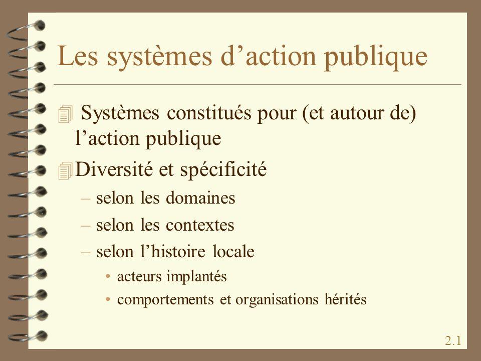 Les systèmes daction publique 4 Systèmes constitués pour (et autour de) laction publique 4 Diversité et spécificité –selon les domaines –selon les con