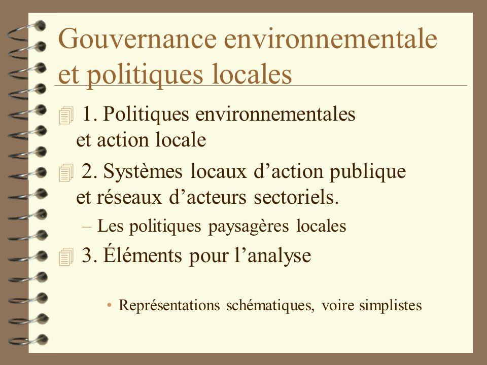 Gouvernance environnementale et politiques locales 4 1. Politiques environnementales et action locale 4 2. Systèmes locaux daction publique et réseaux