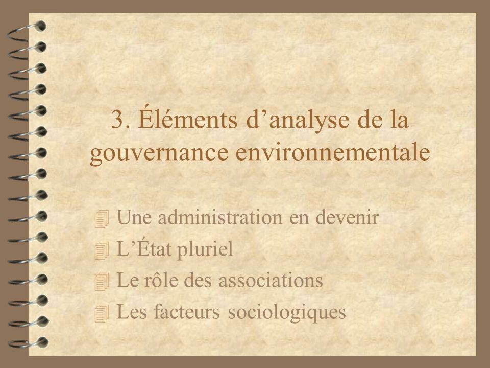 3. Éléments danalyse de la gouvernance environnementale 4 Une administration en devenir 4 LÉtat pluriel 4 Le rôle des associations 4 Les facteurs soci