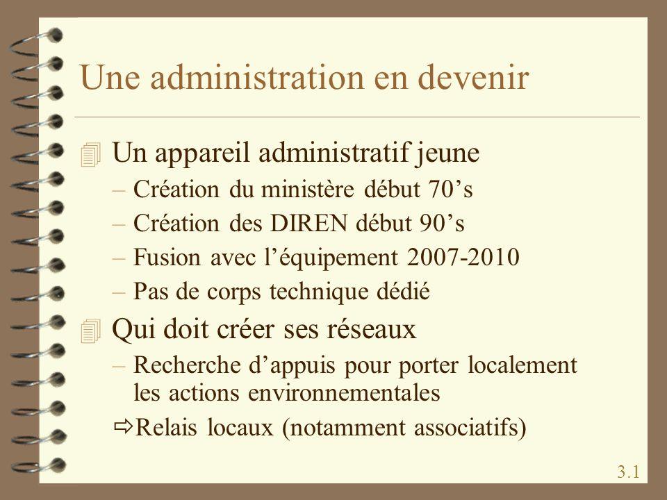 Une administration en devenir 4 Un appareil administratif jeune –Création du ministère début 70s –Création des DIREN début 90s –Fusion avec léquipemen