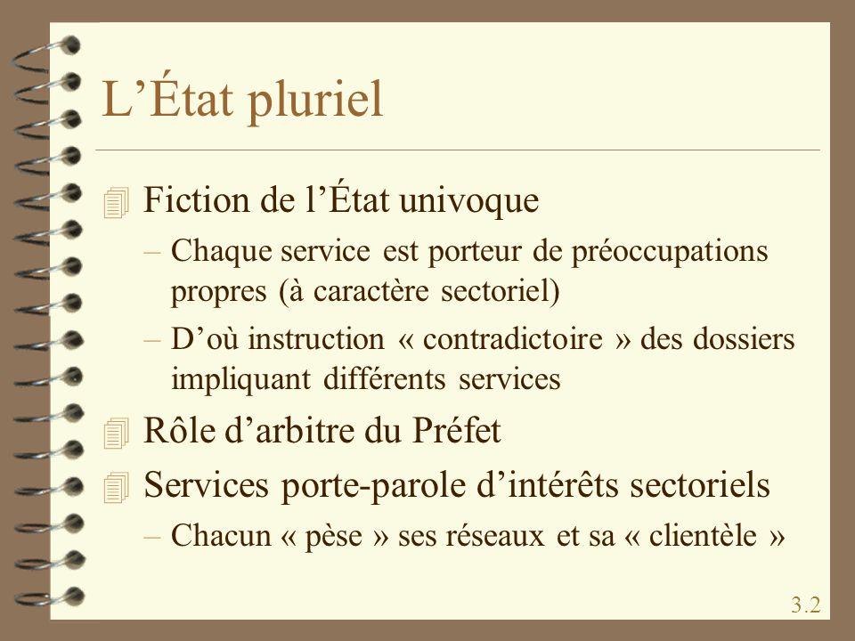 LÉtat pluriel 4 Fiction de lÉtat univoque –Chaque service est porteur de préoccupations propres (à caractère sectoriel) –Doù instruction « contradicto