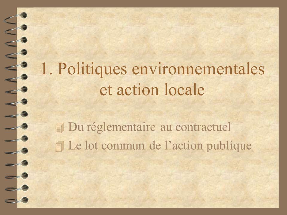 1. Politiques environnementales et action locale 4 Du réglementaire au contractuel 4 Le lot commun de laction publique
