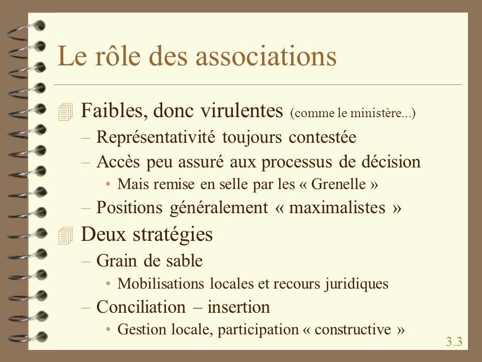 Le rôle des associations 4 Faibles, donc virulentes (comme le ministère...) –Représentativité toujours contestée –Accès peu assuré aux processus de dé