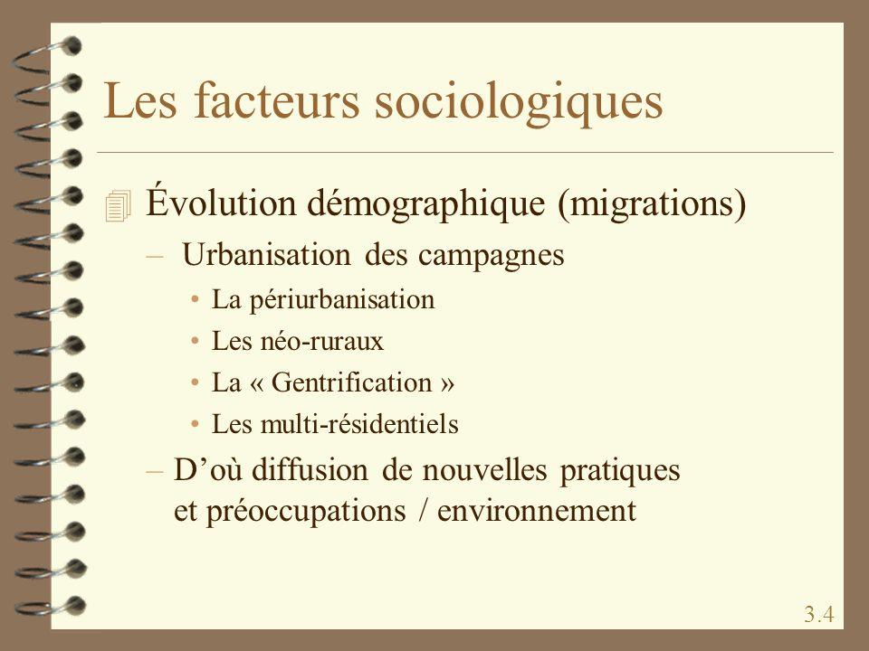Les facteurs sociologiques 4 Évolution démographique (migrations) – Urbanisation des campagnes La périurbanisation Les néo-ruraux La « Gentrification