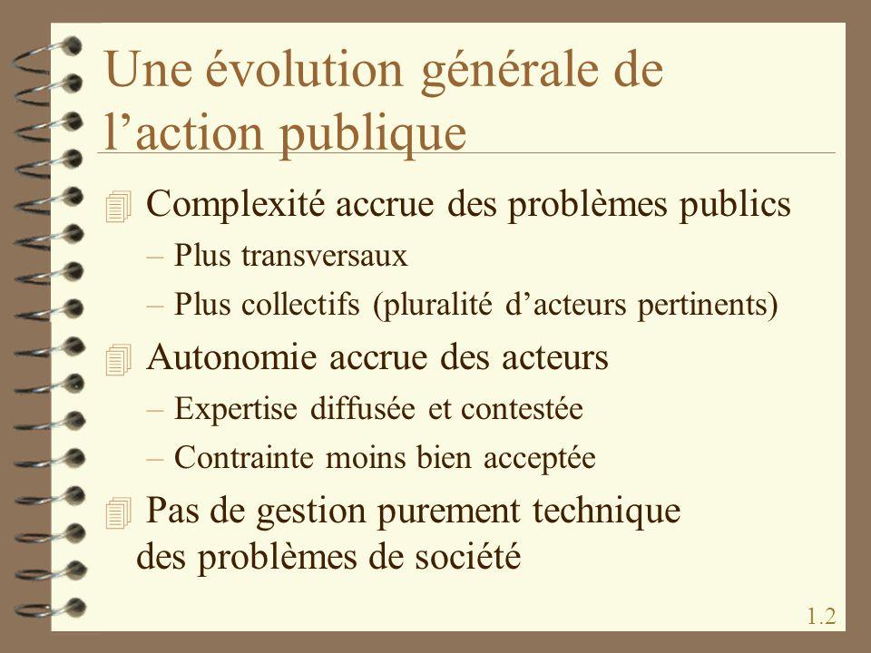 Une évolution générale de laction publique 4 Complexité accrue des problèmes publics –Plus transversaux –Plus collectifs (pluralité dacteurs pertinent