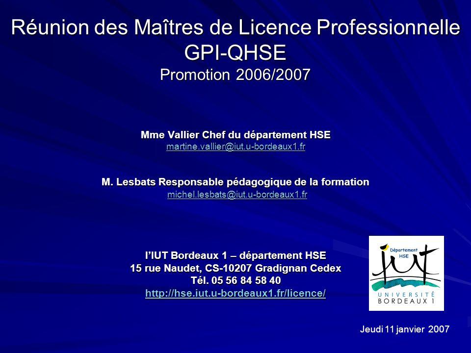 Réunion des Maîtres de Licence Professionnelle GPI-QHSE Promotion 2006/2007 Mme Vallier Chef du département HSE martine.vallier@iut.u-bordeaux1.fr M.