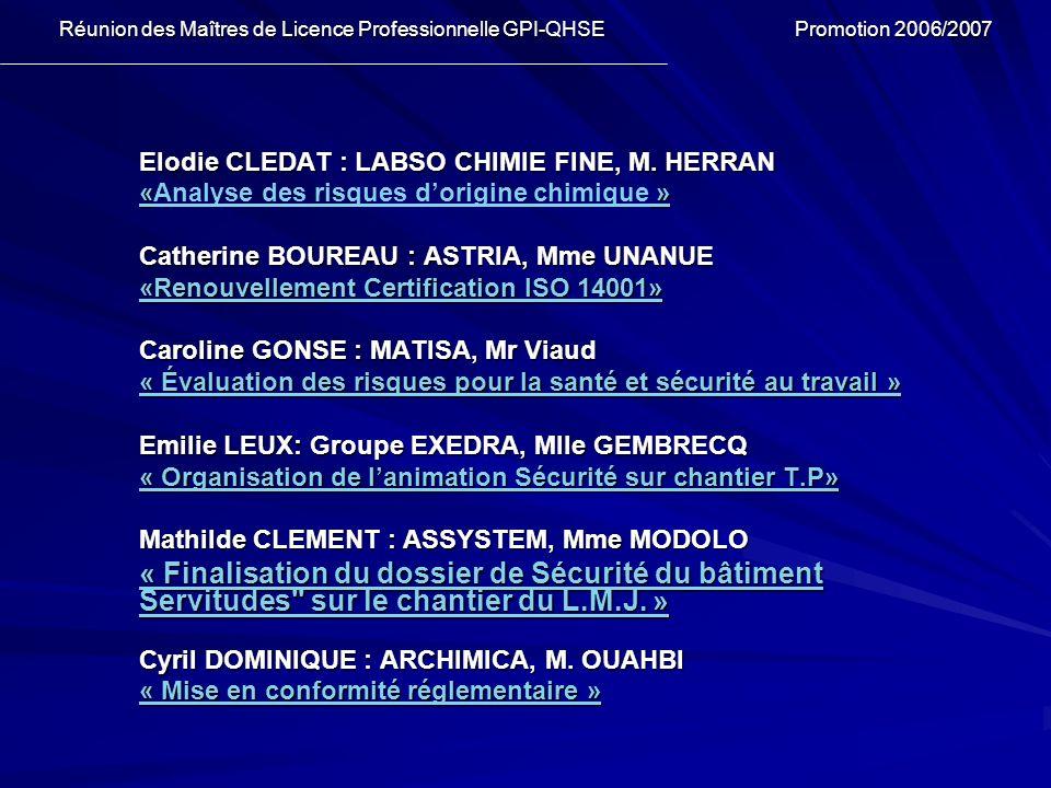 Elodie CLEDAT : LABSO CHIMIE FINE, M. HERRAN « » «Analyse des risques dorigine chimique » Catherine BOUREAU : ASTRIA, Mme UNANUE «Renouvellement Certi