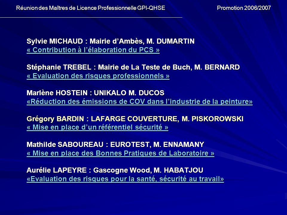 Sylvie MICHAUD : Mairie dAmbès, M. DUMARTIN « Contribution à lélaboration du PCS » « Contribution à lélaboration du PCS » Stéphanie TREBEL : Mairie de