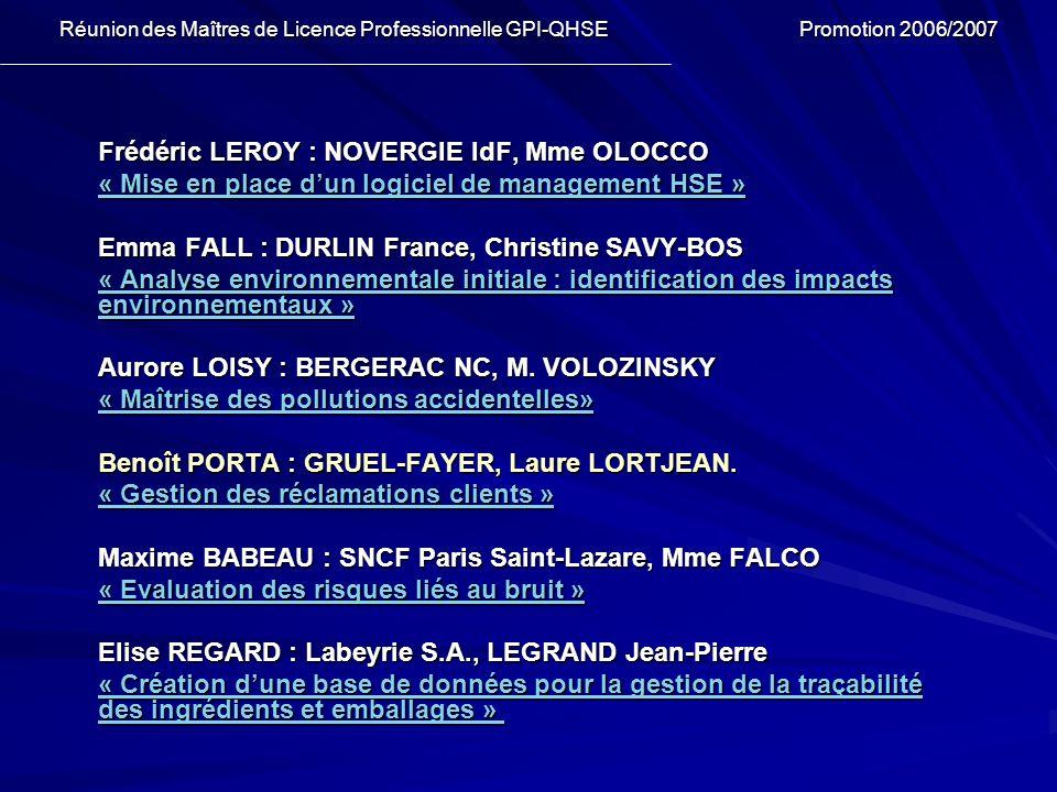 Frédéric LEROY : NOVERGIE IdF, Mme OLOCCO « Mise en place dun logiciel de management HSE » « Mise en place dun logiciel de management HSE » Emma FALL