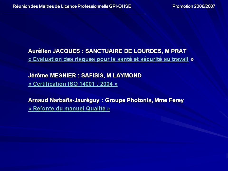 Aurélien JACQUES : SANCTUAIRE DE LOURDES, M PRAT « Evaluation des risques pour la santé et sécurité au travail« Evaluation des risques pour la santé e