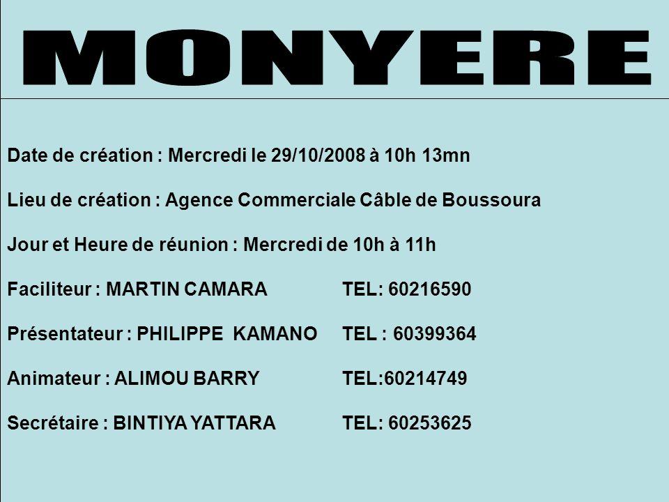 Date de création : Mercredi le 29/10/2008 à 10h 13mn Lieu de création : Agence Commerciale Câble de Boussoura Jour et Heure de réunion : Mercredi de 10h à 11h Faciliteur : MARTIN CAMARA TEL: 60216590 Présentateur : PHILIPPE KAMANOTEL : 60399364 Animateur : ALIMOU BARRYTEL:60214749 Secrétaire : BINTIYA YATTARATEL: 60253625