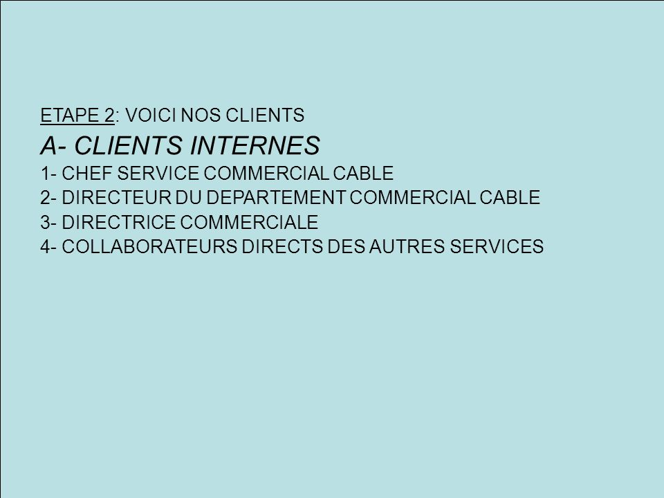 ETAPE 2: VOICI NOS CLIENTS A- CLIENTS INTERNES 1- CHEF SERVICE COMMERCIAL CABLE 2- DIRECTEUR DU DEPARTEMENT COMMERCIAL CABLE 3- DIRECTRICE COMMERCIALE 4- COLLABORATEURS DIRECTS DES AUTRES SERVICES