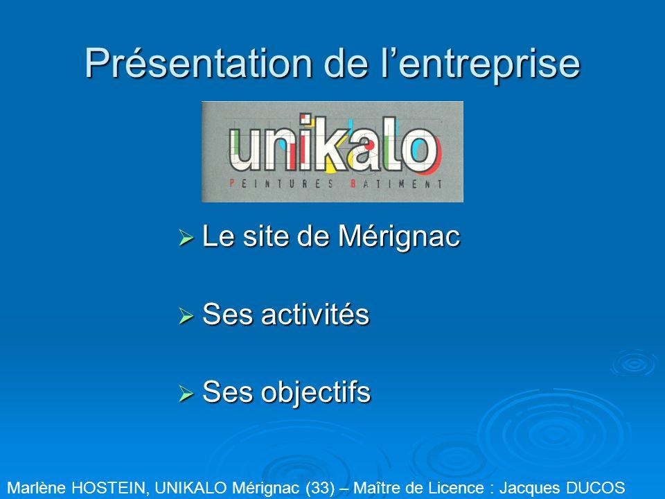 Présentation de lentreprise Le site de Mérignac Le site de Mérignac Ses activités Ses activités Ses objectifs Ses objectifs Marlène HOSTEIN, UNIKALO M