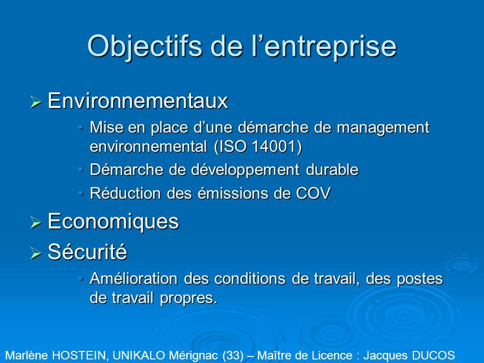 Objectifs de lentreprise Environnementaux Environnementaux Mise en place dune démarche de management environnemental (ISO 14001)Mise en place dune dém
