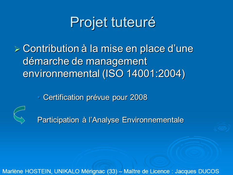 Projet tuteuré Contribution à la mise en place dune démarche de management environnemental (ISO 14001:2004) Contribution à la mise en place dune démar