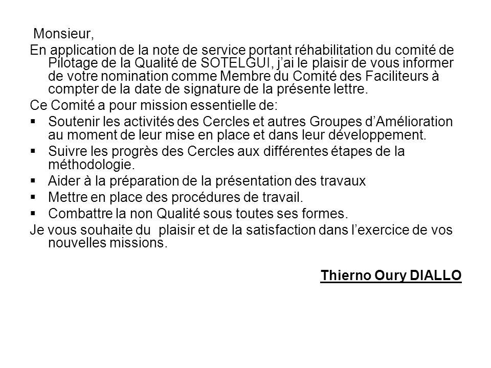 Direction GénéraleConakry, le 19 Décembre 2005 N°/ DG /DQP /SOTELGUI/2005 Le Président du Comité de Pilotage de la Qualité de SOTELGUI A Monsieur CONT
