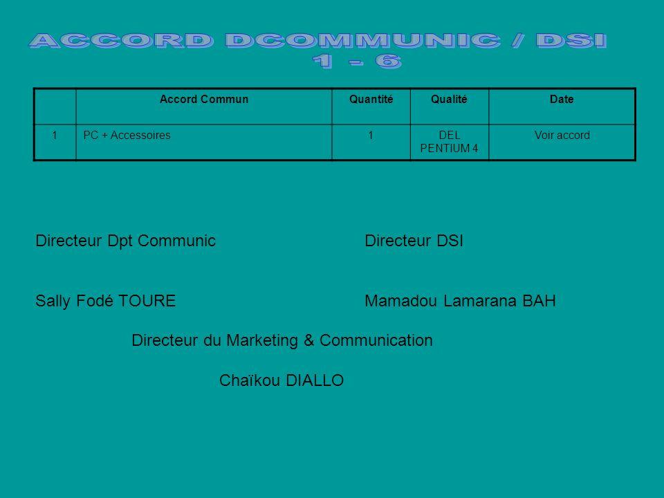 Directeur Dpt Communic Directeur DSI Sally Fodé TOURE Mamadou Lamarana BAH Directeur du Marketing & Communication Chaïkou DIALLO Accord CommunQuantitéQualitéDate 1PC + Accessoires1DEL PENTIUM 4 Voir accord