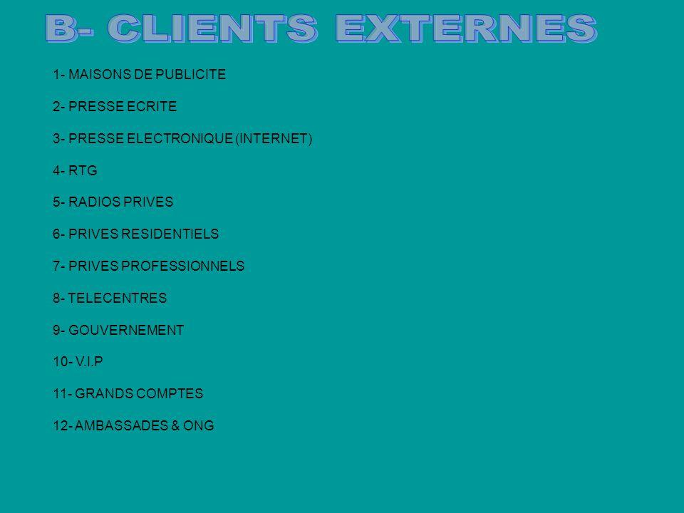 1- MAISONS DE PUBLICITE 2- PRESSE ECRITE 3- PRESSE ELECTRONIQUE (INTERNET) 4- RTG 5- RADIOS PRIVES 6- PRIVES RESIDENTIELS 7- PRIVES PROFESSIONNELS 8- TELECENTRES 9- GOUVERNEMENT 10- V.I.P 11- GRANDS COMPTES 12- AMBASSADES & ONG