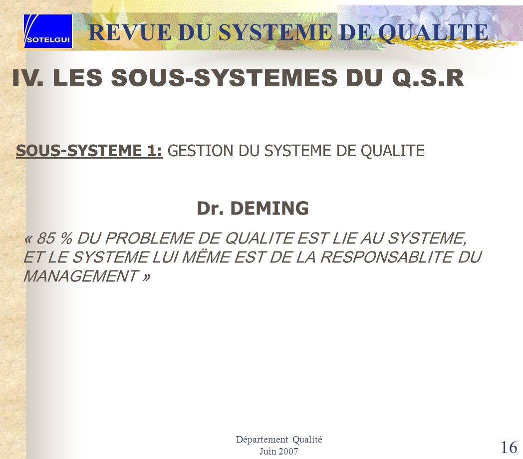 Département Qualité Juin 2007 15 REVUE DU SYSTEME DE QUALITE IV. LES SOUS-SYSTEMES DU Q.S.R SOUS-SYSTEME 1: GESTION DU SYSTEME DE QUALITE 10. Système