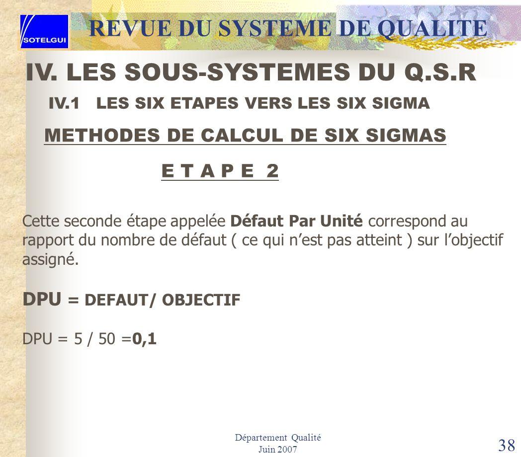 Département Qualité Juin 2007 37 IV.1 LES SIX ETAPES VERS LES SIX SIGMA METHODES DE CALCUL DE SIX SIGMAS E T A P E 1 Correspond à lidentification des