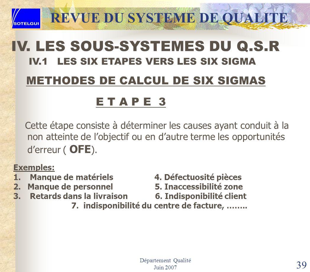 Département Qualité Juin 2007 38 IV.1 LES SIX ETAPES VERS LES SIX SIGMA METHODES DE CALCUL DE SIX SIGMAS E T A P E 2 Cette seconde étape appelée Défau