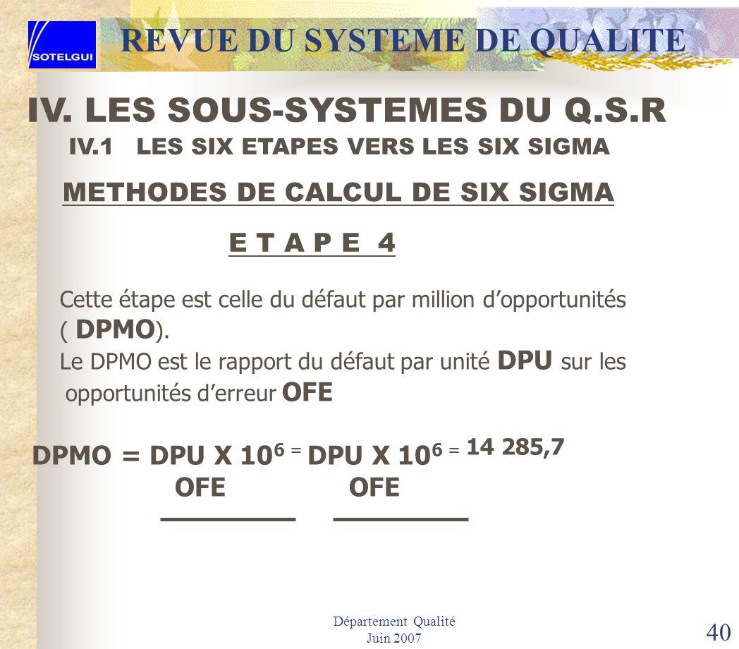 Département Qualité Juin 2007 39 IV.1 LES SIX ETAPES VERS LES SIX SIGMA METHODES DE CALCUL DE SIX SIGMAS E T A P E 3 Cette étape consiste à déterminer