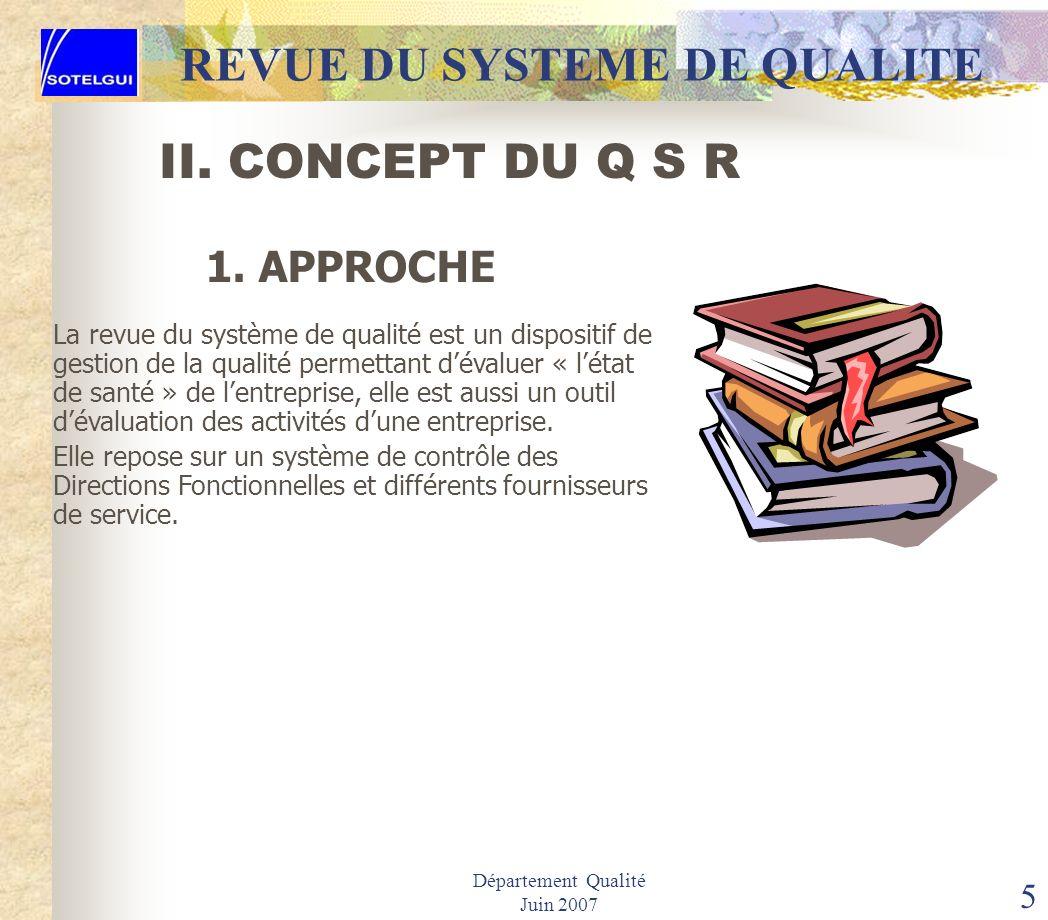 Département Qualité Juin 2007 4 I. OBJECTIF REVUE DU SYSTEME DE QUALITE ETRE CAPABLE DE Définir correctement le concept. Avoir la capacité de mettre e