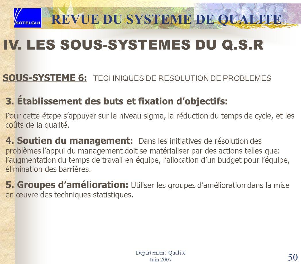 Département Qualité Juin 2007 49 REVUE DU SYSTEME DE QUALITE IV. LES SOUS-SYSTEMES DU Q.S.R SOUS-SYSTEME 5: PROGRAMME DES DONNEES DE LA QUALITE Identi