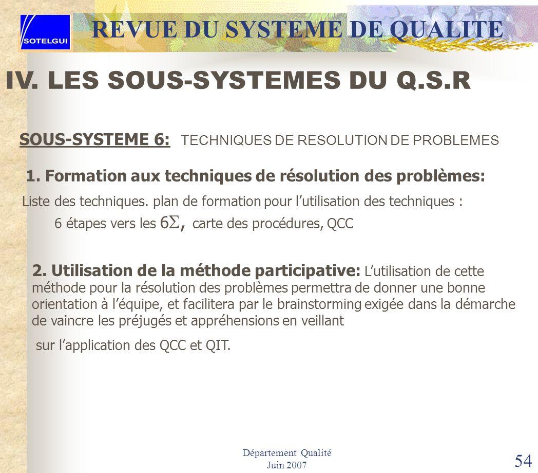 Département Qualité Juin 2007 53 REVUE DU SYSTEME DE QUALITE SOUS-SYSTEME 7: CONTRÔLE DES EQUIPEMENTS & SYSTEMES DE MESURE IV. LES SOUS-SYSTEMES DU Q.