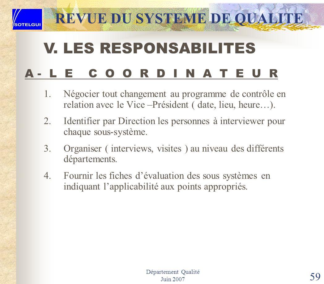 Département Qualité Juin 2007 58 REVUE DU SYSTEME DE QUALITE La structure de la revue du système qualité repose sur les postes suivants: Coordinateur