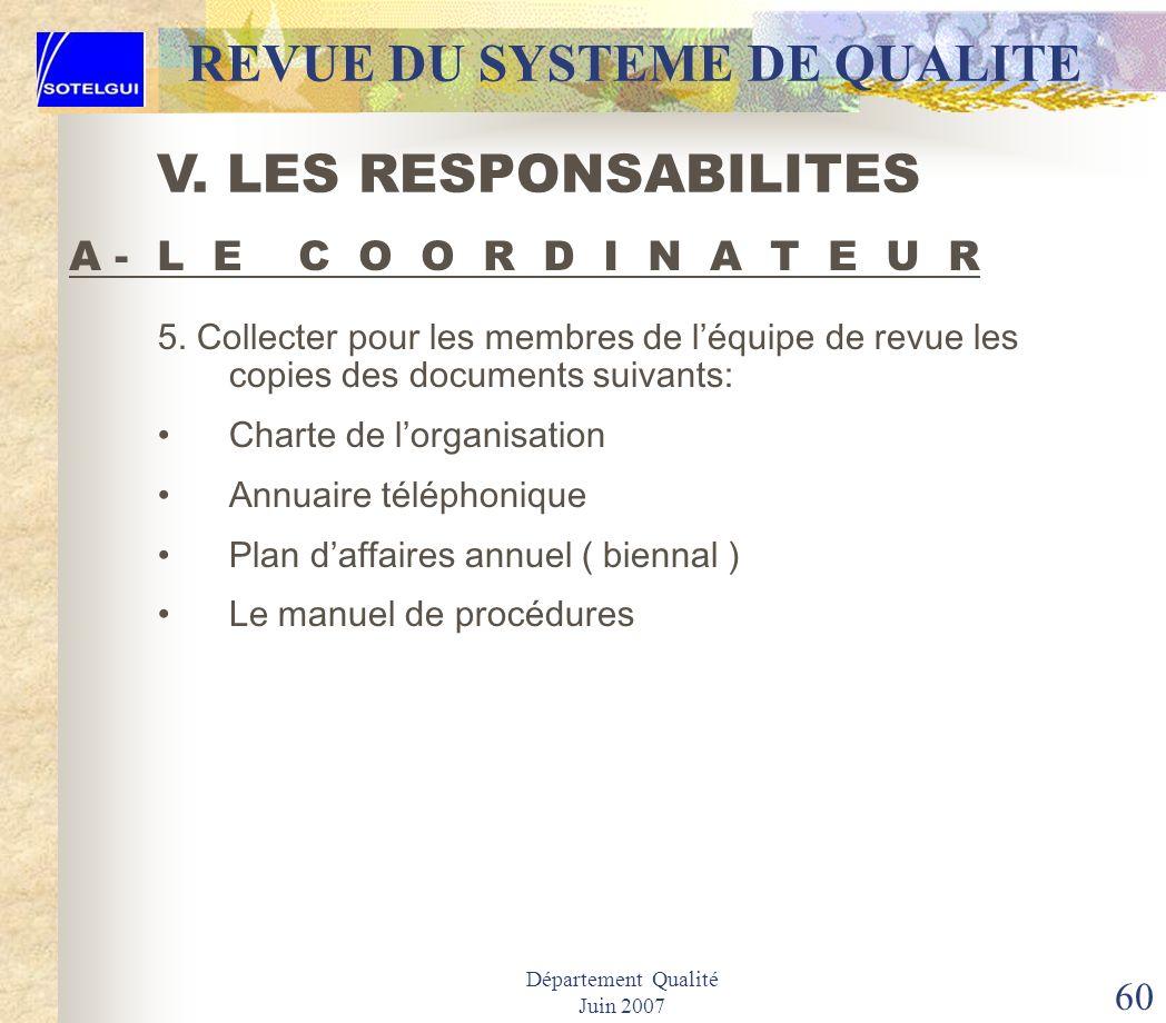 Département Qualité Juin 2007 59 REVUE DU SYSTEME DE QUALITE 1.Négocier tout changement au programme de contrôle en relation avec le Vice –Président (