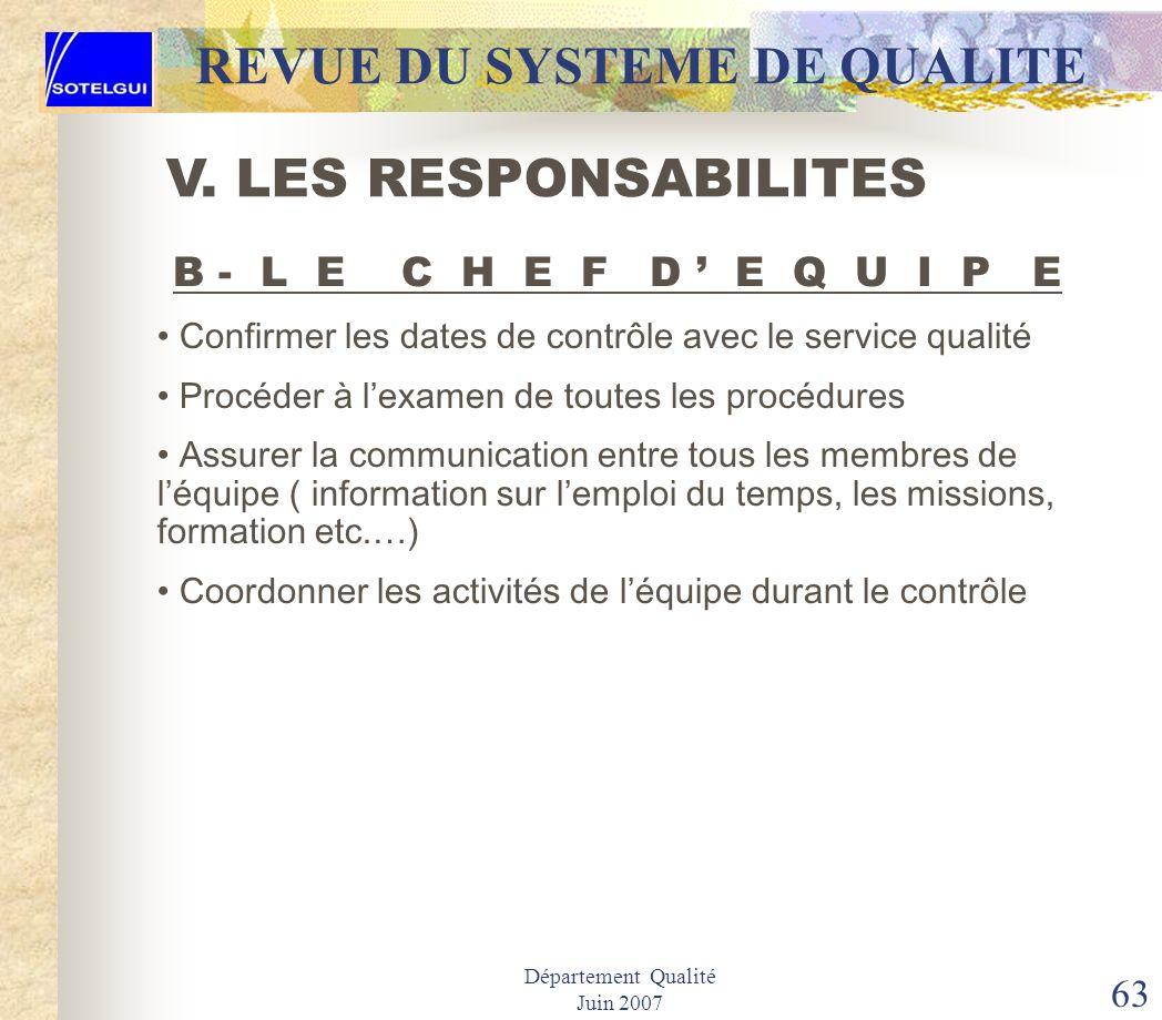 Département Qualité Juin 2007 62 REVUE DU SYSTEME DE QUALITE LES PREREQUIS 1.Être un cadre consciencieux de lentreprise 2.Maîtriser les différents out