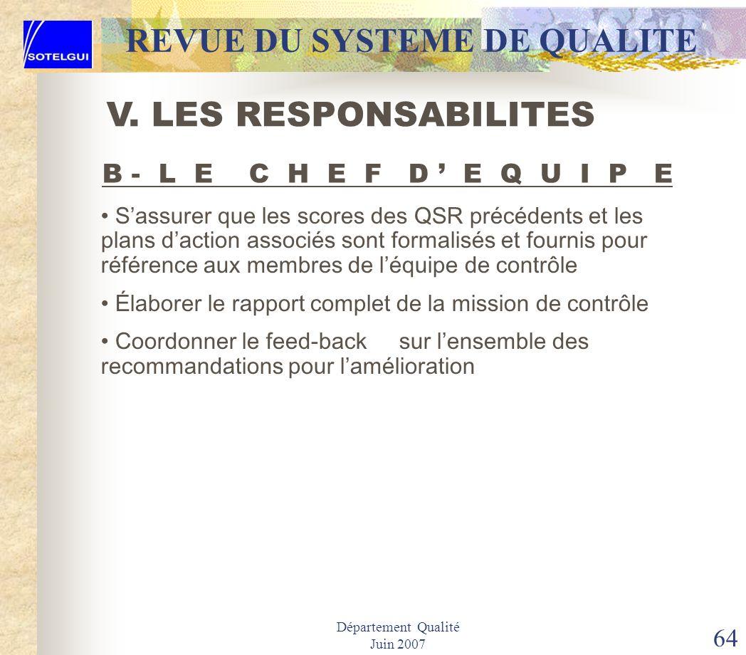 Département Qualité Juin 2007 63 REVUE DU SYSTEME DE QUALITE Confirmer les dates de contrôle avec le service qualité Procéder à lexamen de toutes les